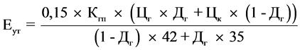 Формула расчета базового значения единицы условного топлива